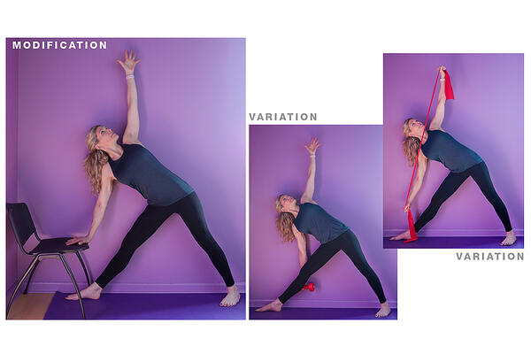 extended triangle yoga modification