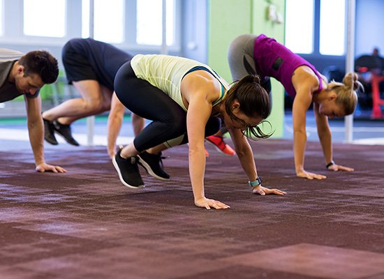 a creative hiit group fitness class in session